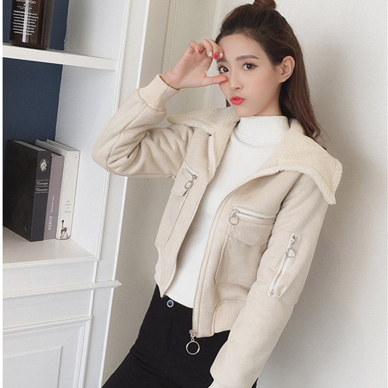 Xinantime Womens Coat Lapel Suede Leather Buckle Cool Pilot Jacket Faux Lamb Wool Motorcycle Jackets