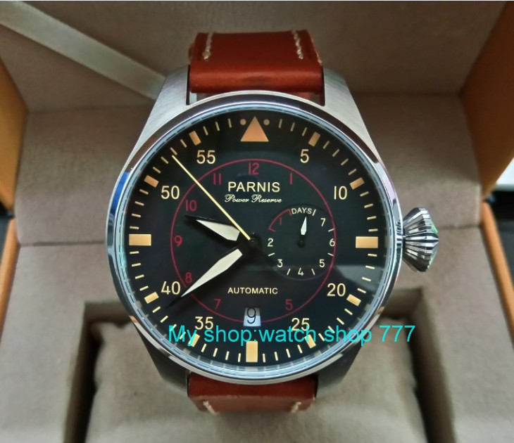 47mm PARNIS big pilot black dial Automatic Self Wind Mechanical movement men s watches power reserve