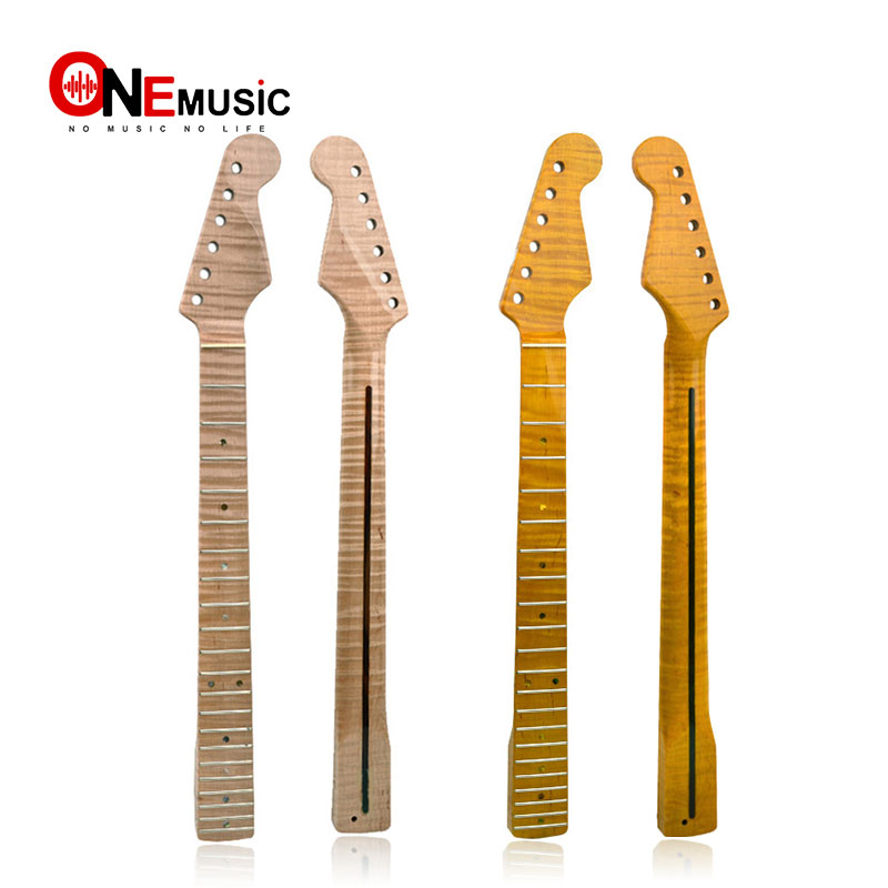 21 fret tiger flame maple guitar neck replacement guitar neck for st electric guitar abalone. Black Bedroom Furniture Sets. Home Design Ideas