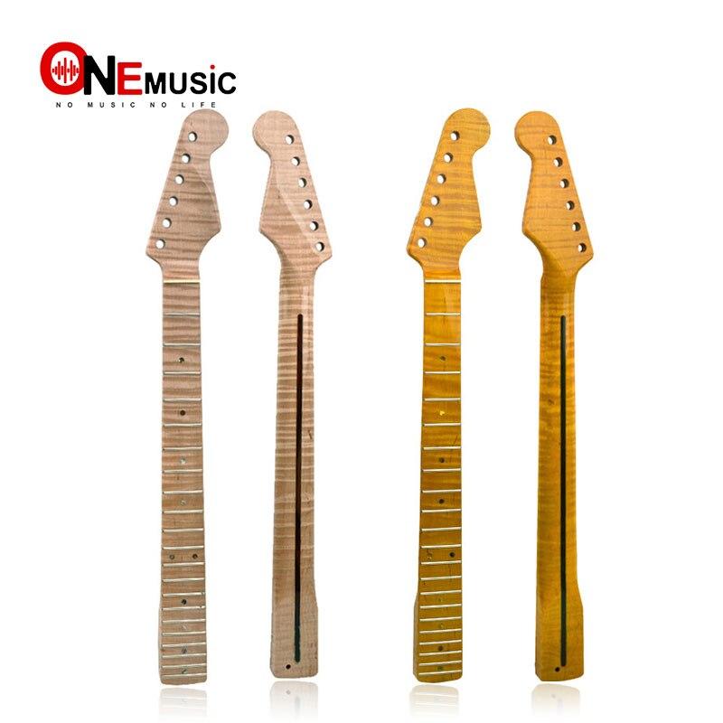 21 frette tigre flamme érable guitare cou remplacement guitare cou pour ST guitare électrique Abalone Dots naturel jaune brillant