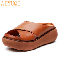 AIYUQI Women slippers retro 2019 new women sandals 100% natural genuine leather platform casual wedge summer shoes for women buyiniao 2017 new summer cool women wedge sandals vintage style genuine leather slippers floral printing sandalias femininas