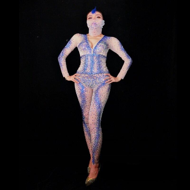 2019 femmes nouveau Sexy Skinny strass combinaison cristaux maille Perspective femme chanteuse fête Performance défilé scène tenue