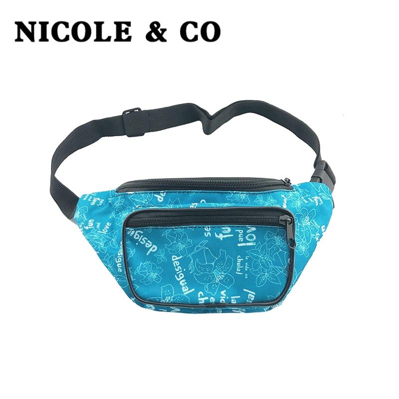 NICOLE & CO Waist Packs Fanny Pack Belt Bag Phone Pouch Bags Travel Waist Pack Male Woman Small Fashion Waist Bag
