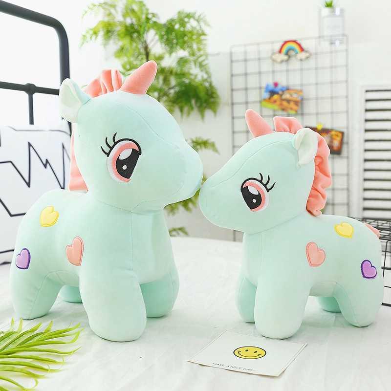 En çok satan Kawaii Unicorn Pony peluş oyuncak pembe/mavi/sarı aşk tek boynuzlu at peluş bebek askı süsleri çocuk oyuncakları hediyeler