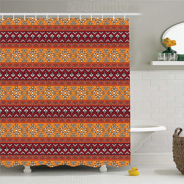 Native American Decor Shower Curtain Maya Motives Inspired Horizontal Esoteric Latin Geometric Pattern Fabric Bathroom