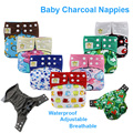Bamboo Charcoal Nappy Covers Adjustable Washable Baby Cloth Diaper for Newborn Waterproof Reusable Nappies Pant Breathable Nappy