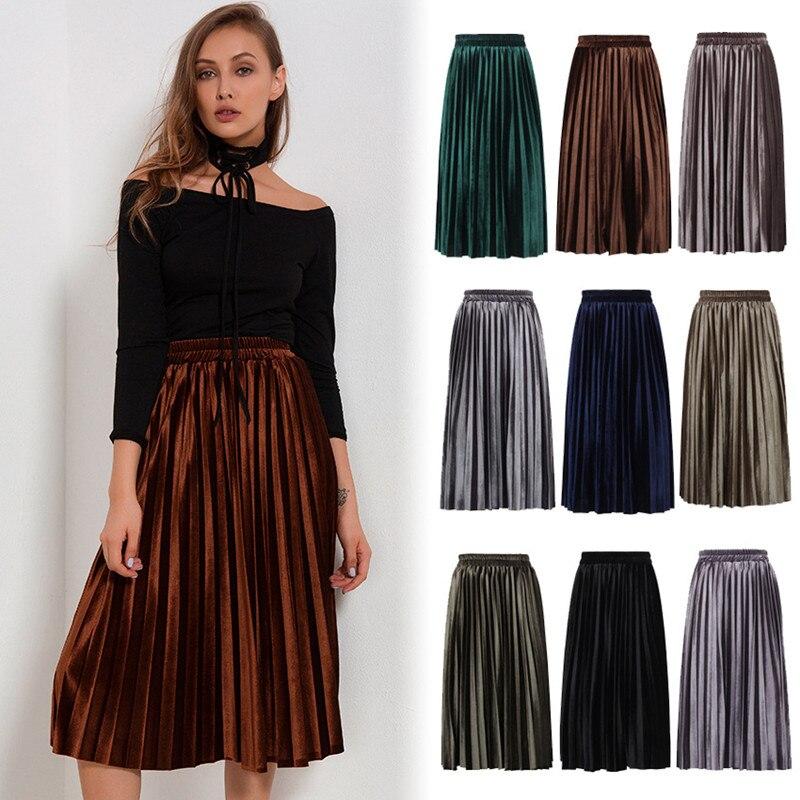 9f2b6531747e5 pleated skirt plus size womens clothing streetwear high waist skirt autumn  winter woman velvet skirt elegant jupe femme 7520