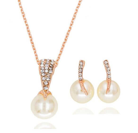 High quality crystal engagement simulated pearl jewelry sets for women earrings and necklace sets rose gold color free shipping