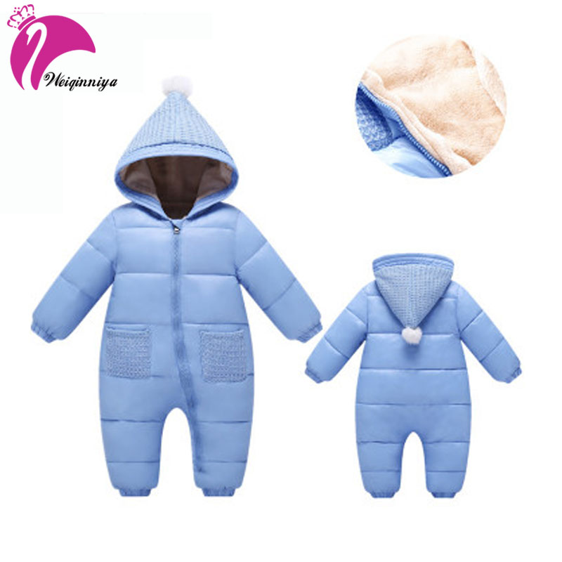 Newborn Baby Winter Rompers Fashion Solid Parka Down Padded-Cotton Warm Hooded Snowsuit Casual Children Outwear Jacket Clothing baby bomber jacket print infant overcoat winter children s down jacket boys snowsuit baby hooded outwear cotton padded jacket