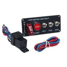 Painel de ignição 12v, motor de corrida, botão de iniciar, interruptor de ignição led, painel 4 em 1, modificação de carro ca ca