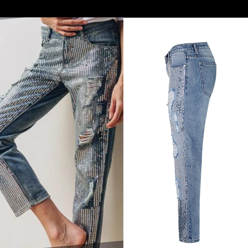 18 Fashion Hole jeans woman ripped jeans for women jeans Sequined mujer femme denim jean pants Scratched pantalones feminino 6