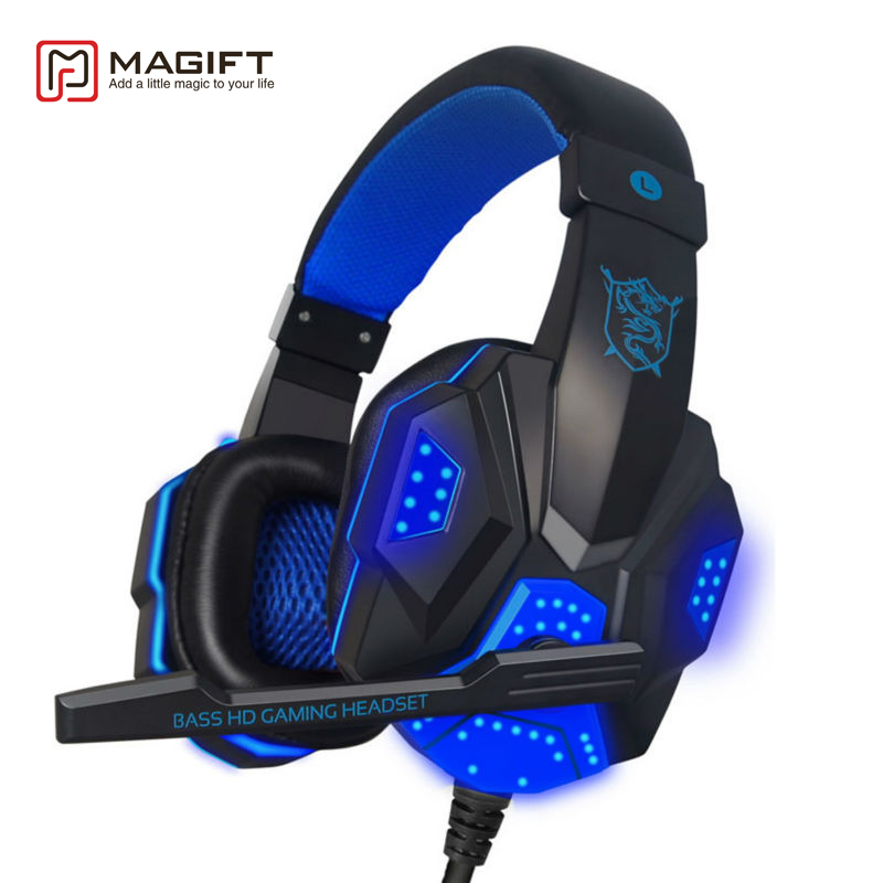 Magift Sound Effect Gaming <font><b>Headset</b></font> Stereo Headphones with Mic for Computer PC Laptop Gamer with LED Light Over Ear Glowing
