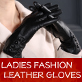 Women Good Quality Comfortable Black Genuine Leather Gloves Lady Long Sheep Leather Gloves For Girls