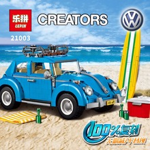 New LEPIN 21003 Creator Series City Car Volkswagen Beetle model Building  Blocks Compatible legoed 10252  Blue Technic Car gift