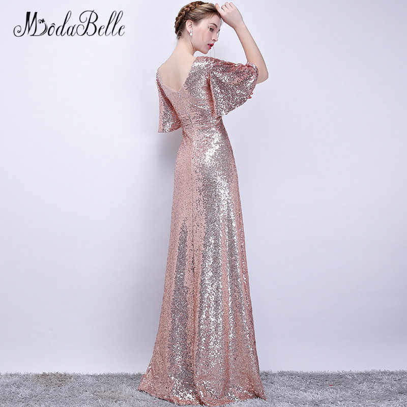 f5d9d985d616 ... modabelle Rose Gold Bridesmaid Dress Sukienki Druhna Navy Blue Sequins  V-neck Women Elegant Dresses ...