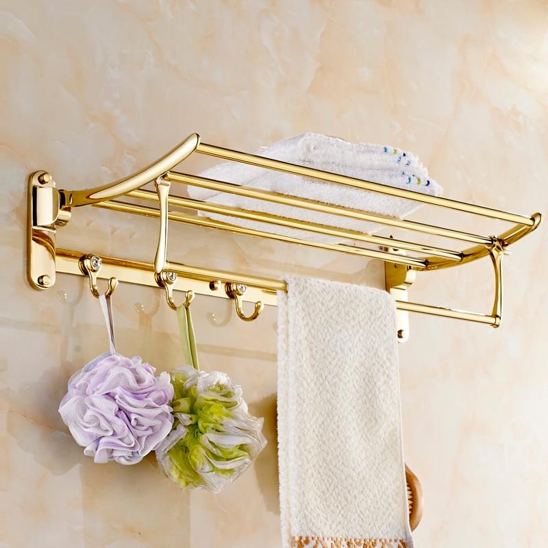 High end Luxury with 5 hooks European Folding Bath Towel Shelf movable Towel Rack Bathroom Accessories Titanium Gold Plating