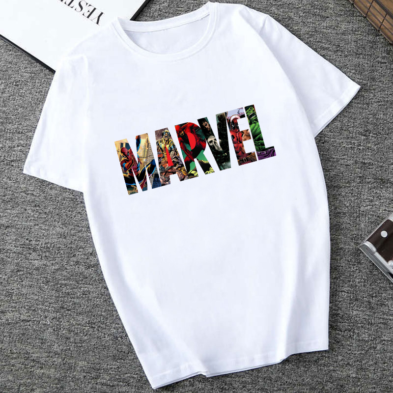 Showtly MARVEL Studios biała koszulka kapitan ameryka żelazny pająk z krótkim rękawem Vogue Avengers letnia koszulka topy 1
