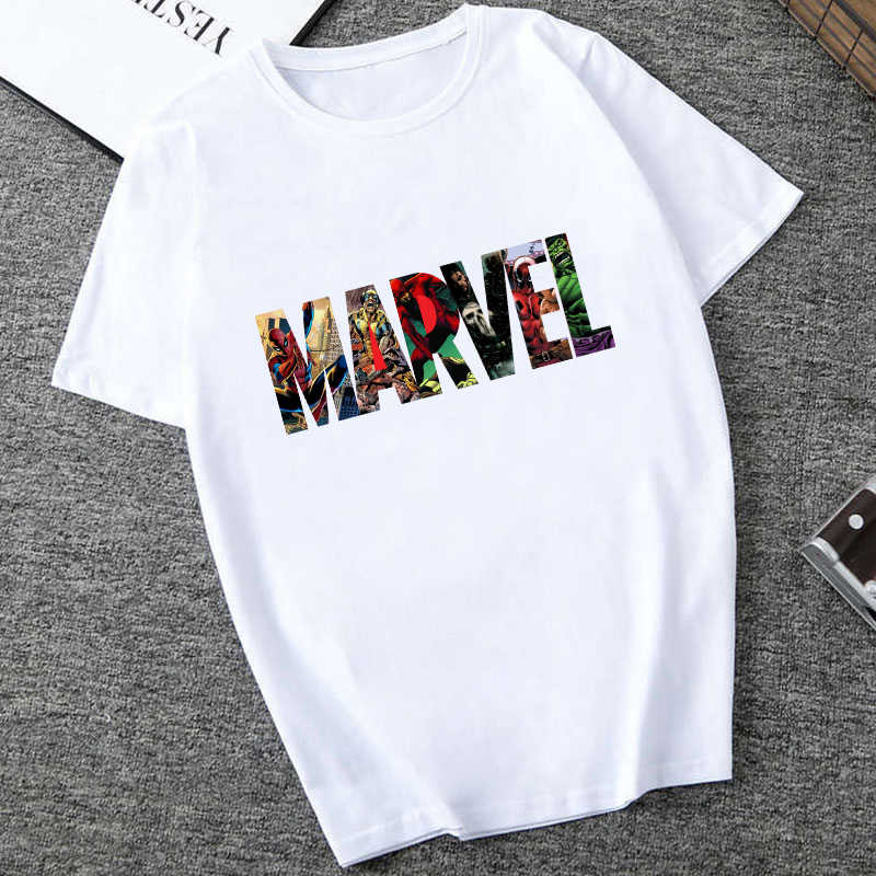Showtly MARVEL Studios White T shirt Capitan America Iron Spider Manica Corta Vogue The Avengers Estate Tee Magliette E Camicette
