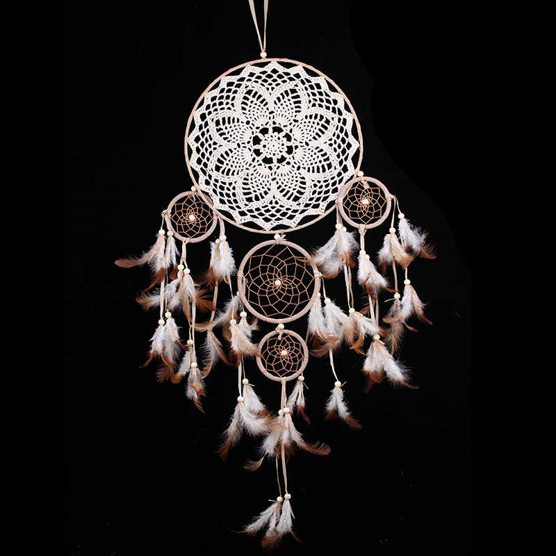 2018 New Five-ring Wind Chime Ornaments Creative Indian Dream Catcher Bedroom Living Room Decoration Wall Hanging Home Ornaments