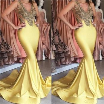 Vestido de festa Gold Mermaid Prom Dresses 2019 Sexy V Neck Sleeveless Applique Long Evening Dress Custom Made Vestido formatura