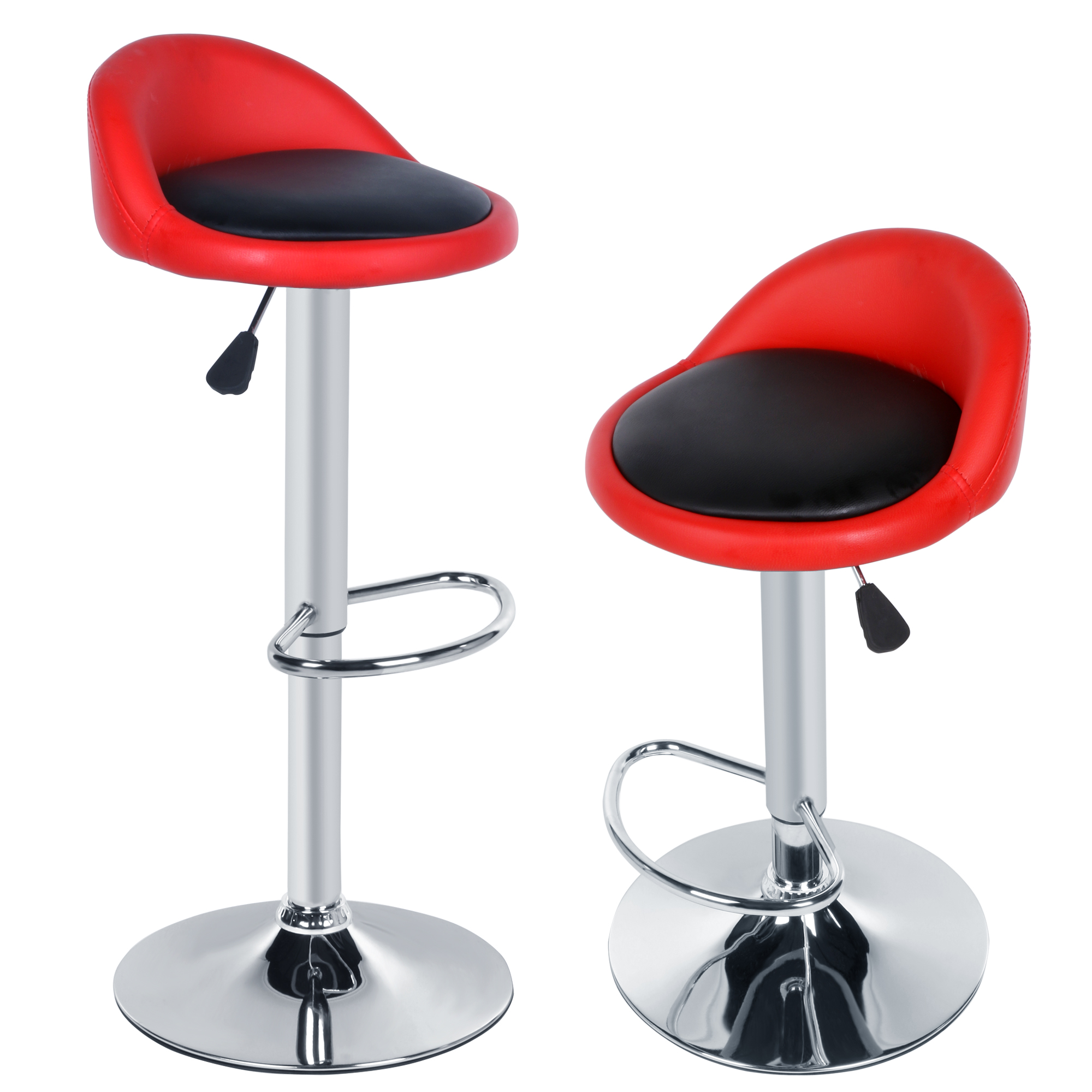 Homdox 2pcs Synthetic Leather Rotating Adjustable Height Bar Stool