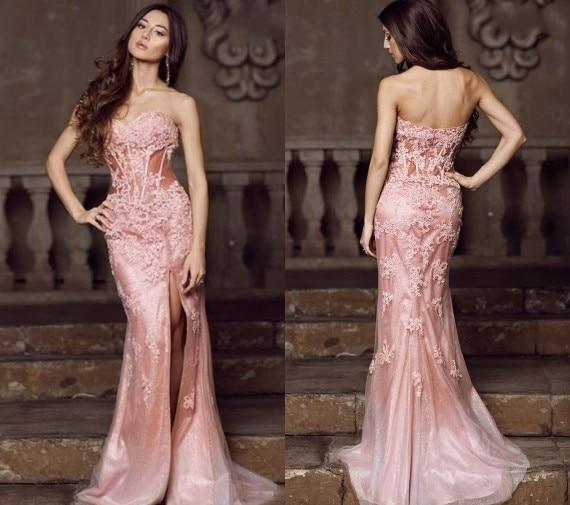 2015 Hot Sale Sexy Backless Floor Length Slim Figure Sheath Appliques Split  Side Prom Dresses Long Party Gowns Dress Gown 7e594e41028b