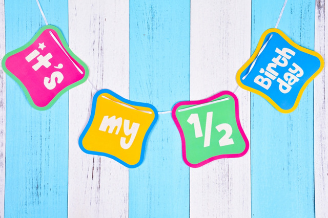 15m Shimmering Its My Half Birthday Banner 1 2 Decorations 6 Months Old