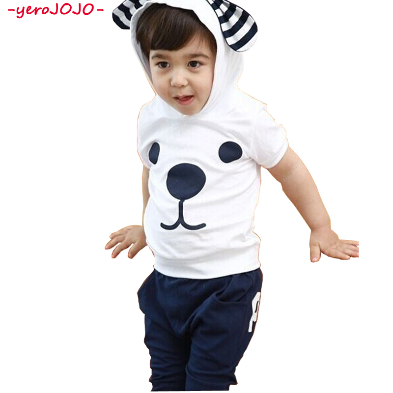Cute Boy Girls Clothing Set Children Big Ears Puppy Hooded Short Sleeve T-Shirt Harem Pants Cropped Pants Set Summer Style New