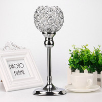 Silver Modern Crystal Lantern Candle Cup Holders For Valentines Day Dining Room