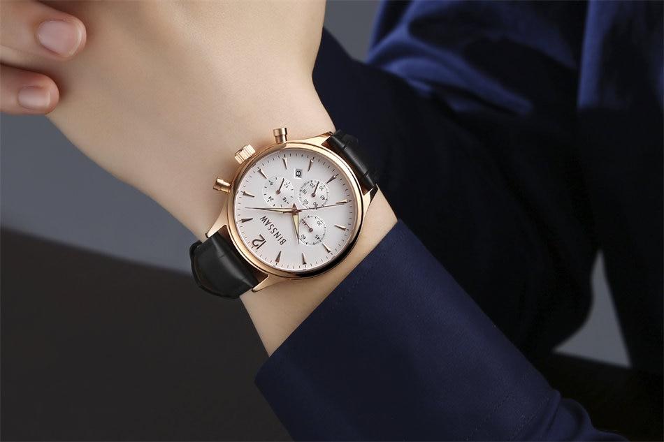 BINSSAW 2017 nieuwe heren kijken luxe merk Fashion Casual 100M leer - Herenhorloges - Foto 5