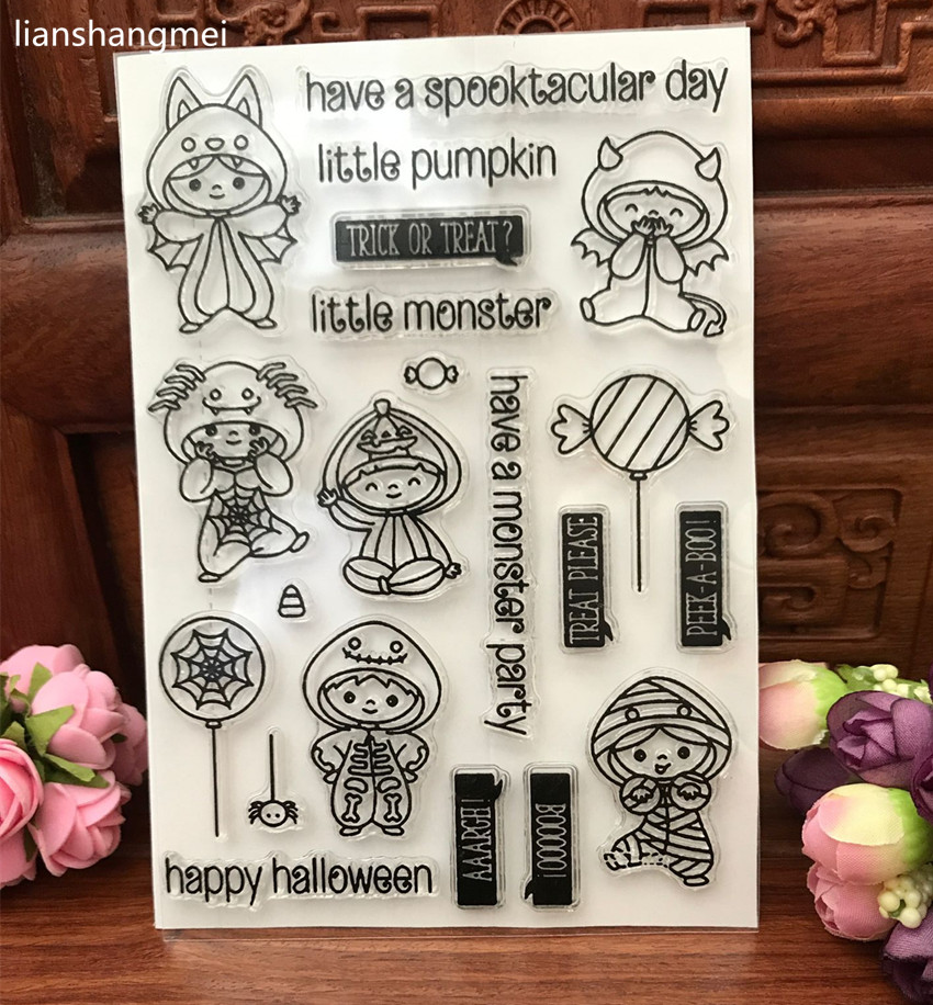 Happy Halloween Transparent Clear Silicone Stamp/Seal for DIY scrapbooking/photo album Decorative clear stamp sheets lovely animals and ballon design transparent clear silicone stamp for diy scrapbooking photo album clear stamp cl 278