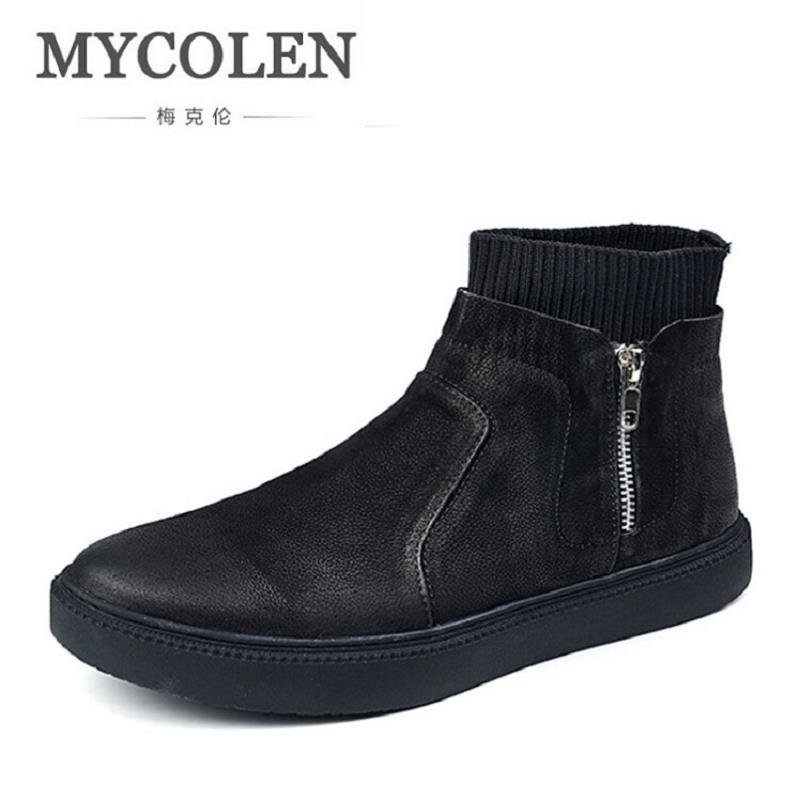 MYCOLEN Handmade Genuine Cow Leather Ankle Boots Fashion Men Martin Boots Zipper Flat High-Top Casual Shoes Tenis Masculino hot sale mens italian style flat shoes genuine leather handmade men casual flats top quality oxford shoes men leather shoes