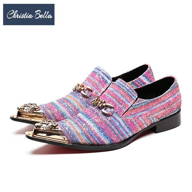 Christia Bella Plus Size Fashion Men Dress Shoes Genuine Leather Men  Banquet Wedding Oxford Shoes Pink Metal Toe Formal Shoes 8e3ca69ed1da