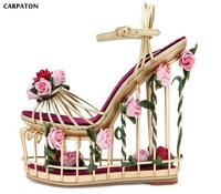 Carpaton 2018 High Platform Wedge Sandals Caged Style Cutouts Ankle Strap Summer Shoes Rose Flower Decorations Gladiator Sandal