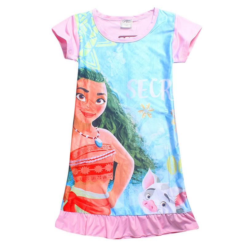 a9619860e € 6.3 |Nuevo Vestido Moana Patterm Niños Ropa de Vestir para Niñas Verano  Traje de Princesa de Las Muchachas Vestido Estampado de Algodón 4 ...