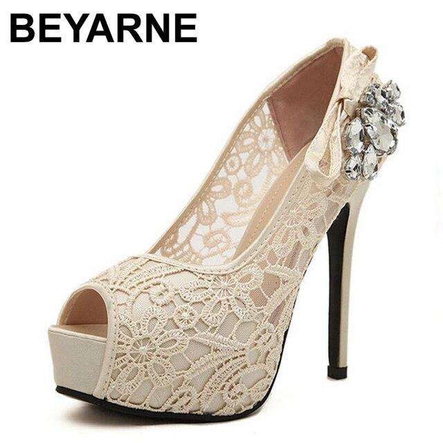 Chaussures de mariage à bout ouvert beiges Sexy femme 5FFiAKi