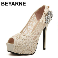 2015 New Women Shoes Pumps Sexy Lace Rhinestone Mesh Hollow Open Toe High Heels Ladies Fashion