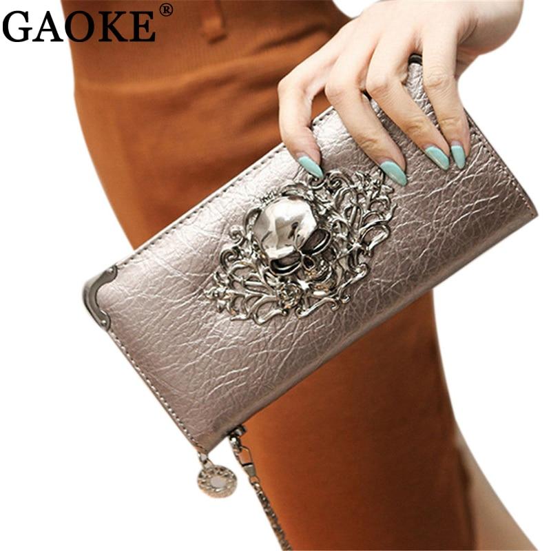 2016 Hot Fashion Metal Skull Pattern PU Leather Long Wallets Women Wallets Portable Casual Lady Cash