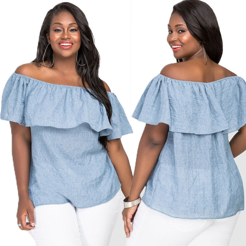 Sought-After Fashion Womens Plus Size Blouse Off Shoulder Loose Casual Tops 5XL