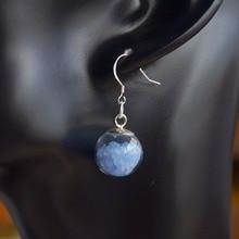 цена на a Pair Blue Glow In The Dark Big Glass Ball 925 Sterling Silver Drop Earrings For Women Vintage Fashion Jewelry Korean Bohemian