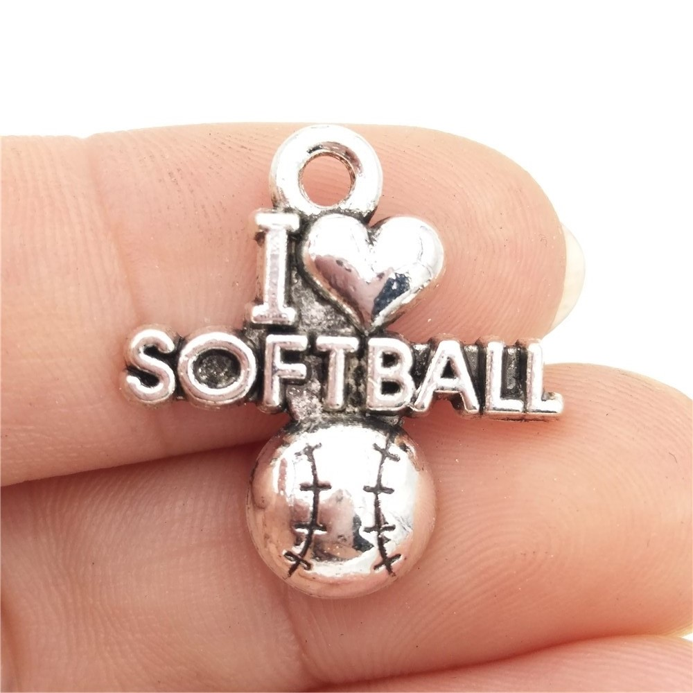 Bulk 30 Zinc Alloy Antique Silver Plated Words I Love Softball Charms  Sports Diy Pendants For