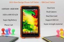 7 Pulgadas Original 3G Llamada de Teléfono Android Tablet pc de Doble Núcleo Android 4.2 1 GB RAM 8 GB ROM WiFi Bluetooth FM 1G + 8G Tabletas Pc
