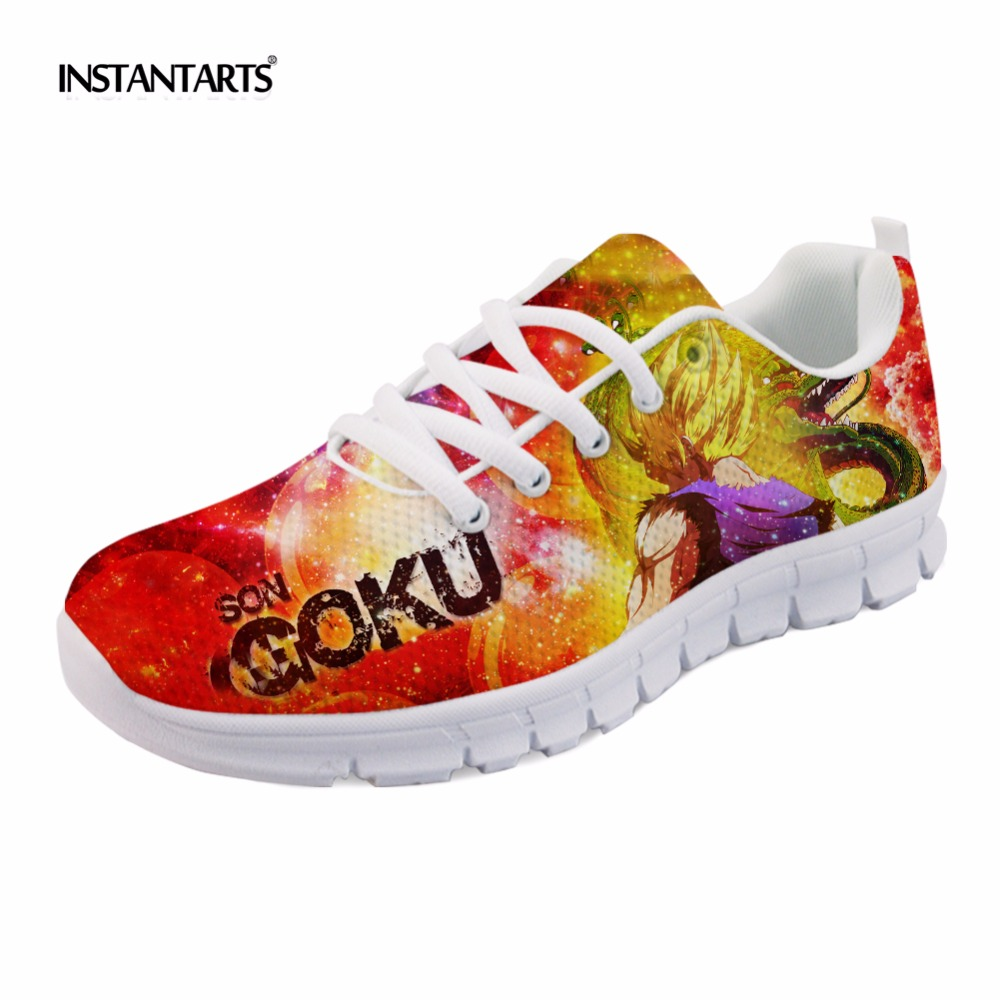 INSTANTARTS Mens Casual Shoes Cool Anime Dragon Ball Z Men's Sneakers Breathable Mesh Light Super Saiyan Goku Flats for Students