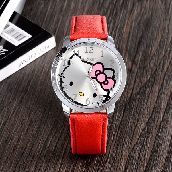 Kualitas Tinggi Lucu Hello Kitty Jam Tangan Kartun Anak-anak Gadis Kristal Gaun Quartz Wrist Watch Montre Enfant Mix Warna Pink