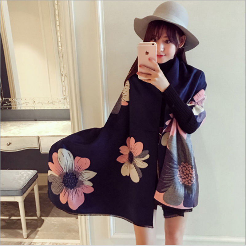 Winter Fashion Brand Big Flower Scarves Tassels Napping Scarves Thickening to Keep Warm Women Simple and Convenient Shawl