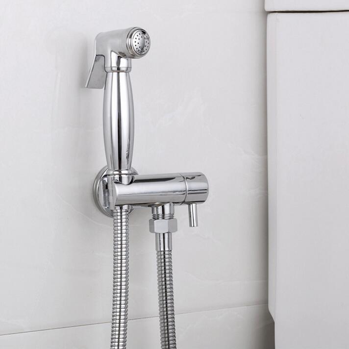 Ensemble de Douche en laiton chromé pour Bidet de poche ensemble de Douche pour pulvérisateur de toilette Shattaf robinet de Bidet avec tuyau et support