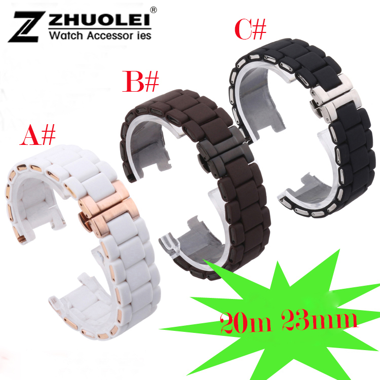 20mm 23mm High Quality  Black Brown White Soft Waterproof Diving Silicone Rubber with steel Watchband Straps for AR watches band 28mm new high quality red waterproof diving silicone rubber watch bands straps