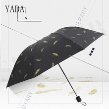 Women Umbrella YADA Folding Rain Black High-Quality Windproof Gold for Leaves YS031