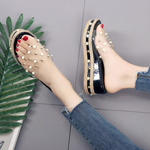 Summer Candy Slip On Pearl Wedges Jelly Sandals
