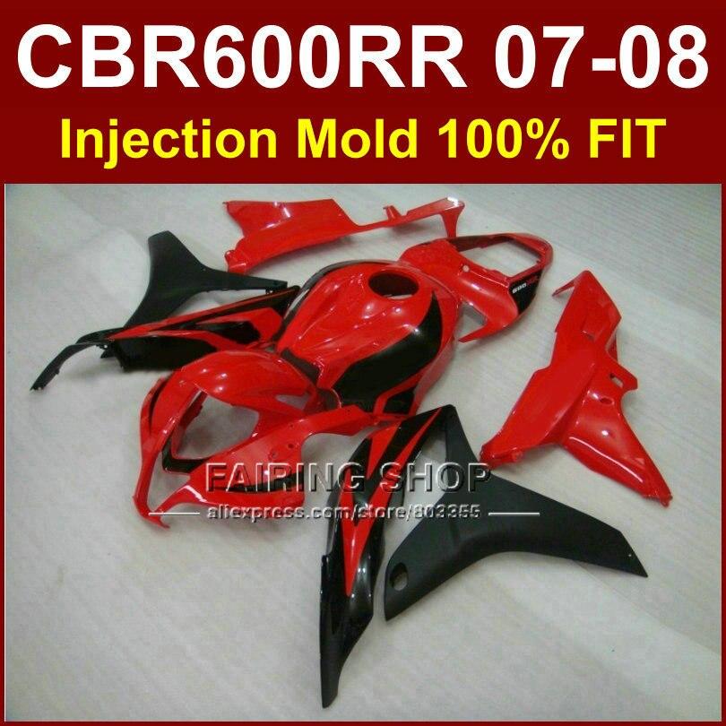 Customize free fairing for HONDA cbr600rr 07 08 fairings CBR600 RR OEM factory red black fairing kit CBR 600RR 2007 2008+7Gifts